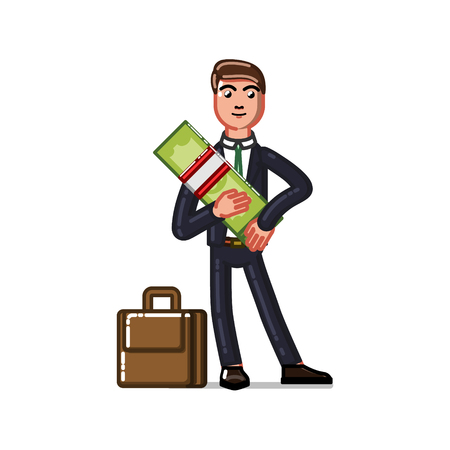 Business man holds money. Vector illustration, EPS 10 Illustration