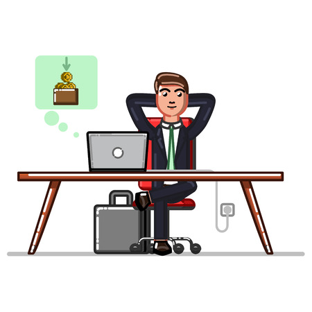 Business man making money transfers through a computer Illustration