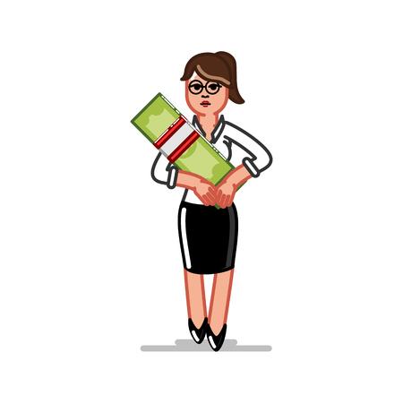 Business woman holds money. Vector illustration, EPS 10