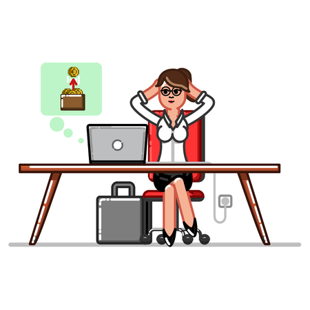 Businesswoman receives funds transfers through a computer Illustration