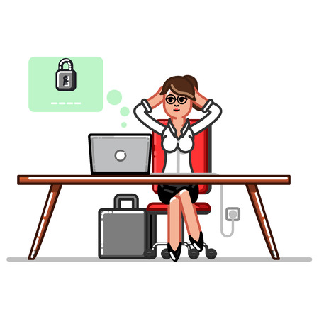 Businesswoman setting up a password to her electronic wallet through a computer Illustration