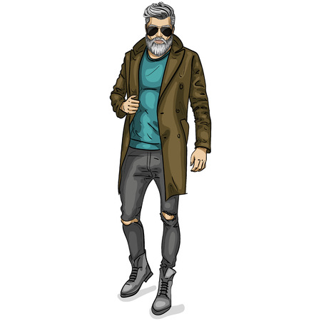 Vector man model dressed in jeans, pullover, coat and boots Illustration