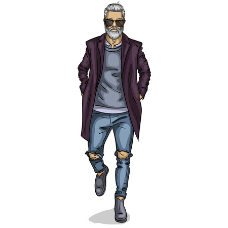 Vector man model dressed in jeans, shirt, pullover, coat anb boots