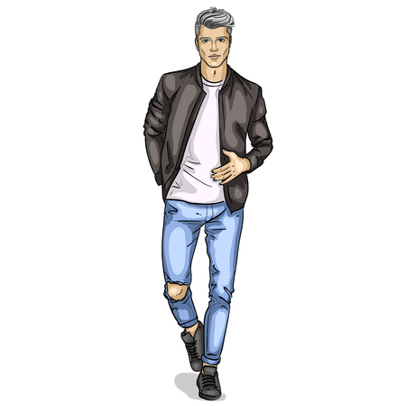 Vector man model dressed in jeans, t-shirt, bomber jacket and sneakers
