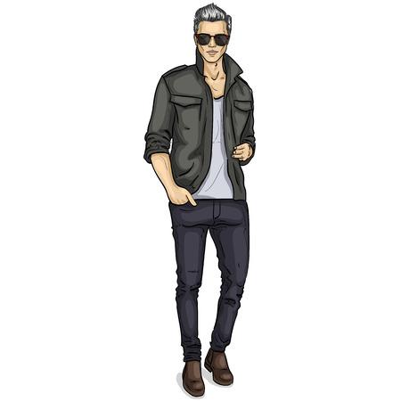Mannequin homme habillé en pantalon, chemise, t-shirt, chaussures et lunettes de soleil Banque d'images - 93265342