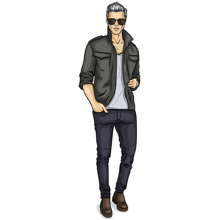 Vector man model dressed in pants, shirt, t-shirt, shoes and sunglasses