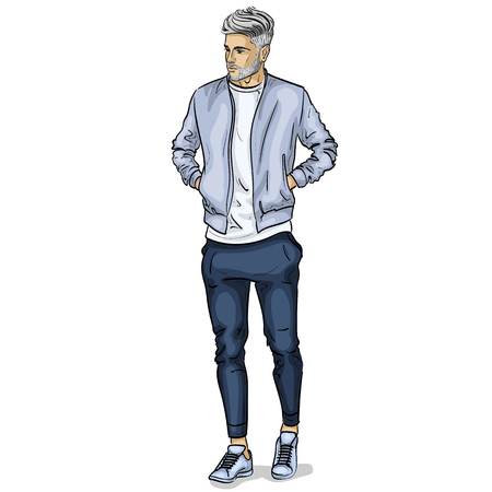 Vector man model dressed in sports trousers, t-shirt, bomber jacket and sneakers Illustration