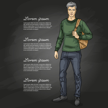 Vector man model dressed in jeans, pullover and shoes with backpack on a dark background