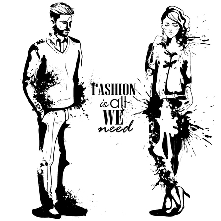 Woman and man models dressed in classic style, splash stile. Fashion is all we need.