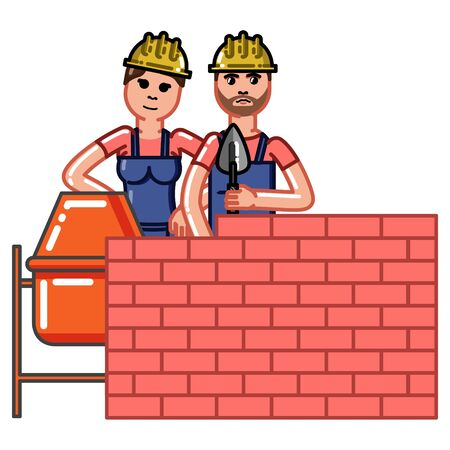 Builder build a brick wall and partner helps to knead concrete. Vector sketch cartoon illustration.