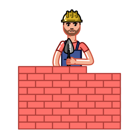 Builder build a brick wall. Vector sketch cartoon illustration.
