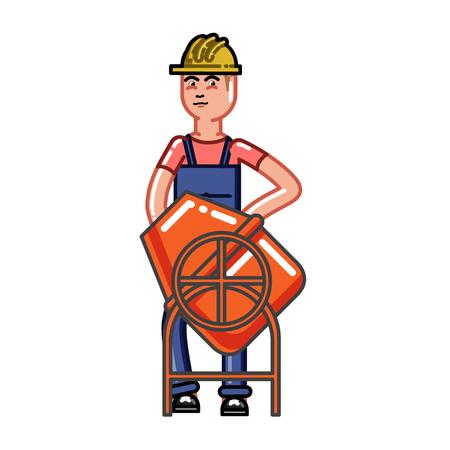 Builder knead concrete. Vector sketch cartoon illustration. Vettoriali