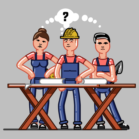 Builders crew exploring the drawings and that they do not understand. Vector sketch cartoon illustration.