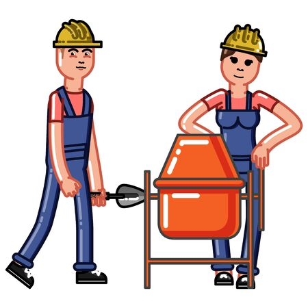 Builders crew knead concrete. Vector sketch cartoon illustration.