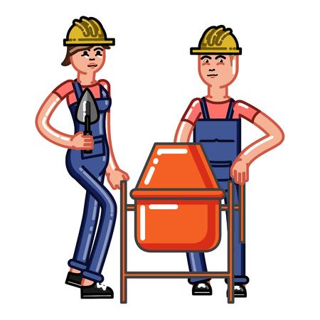 Builders crew knead concrete. Vector sketch cartoon illustration.