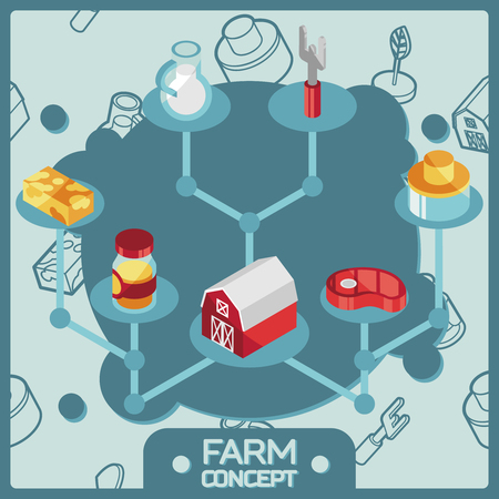 Farm color isometric concept icons. Vector illustration, EPS 10