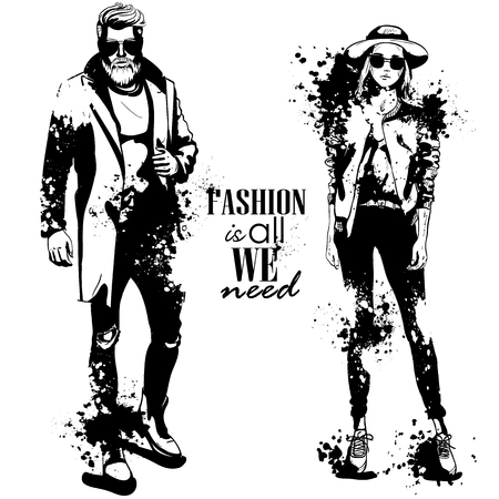 Vector woman and man fashion models, autumn look, splash stile. Fashion is all we need