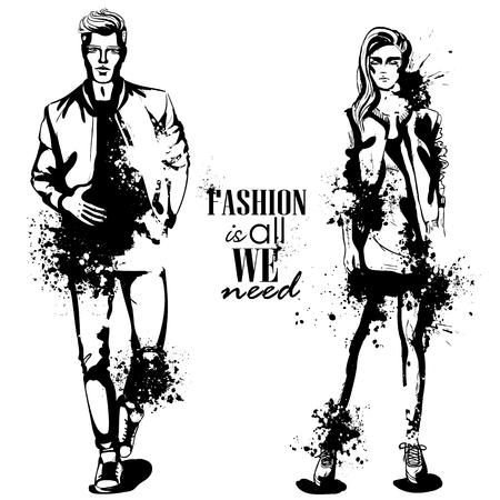 Modelos de moda de mulher e homem de vetor, olhar de colagem de primavera, respingo stile. Moda é tudo que precisamos Ilustración de vector