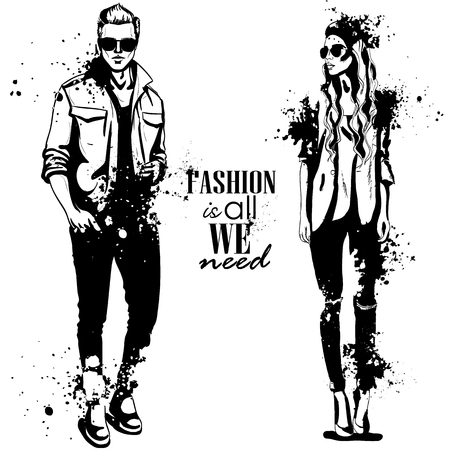 Vector woman and man models dressed in casual style with sunglasses, autumn look, splash stile. Illustration