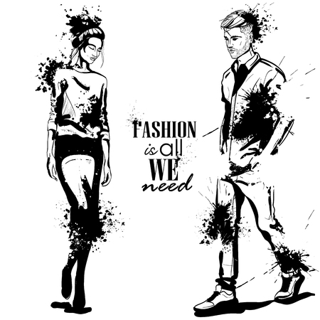 Vector woman and man models wearing casual style, splash stile. Fashion is all we need