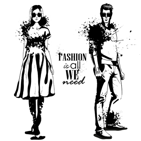 Vector woman and man models wearing classic style with sunglasses, splash stile. Fashion is all we need