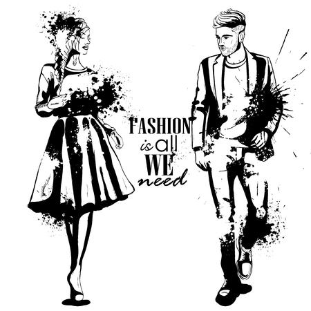 Vector vrouw en man modellen die klassieke stijl, plonsstijl dragen. Mode is alles wat we nodig hebben