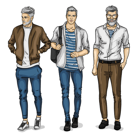 Vector man models dressed in casual style, sketch, spring collection Illusztráció