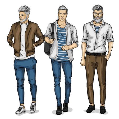 Wektor modele mężczyzna ubrany w styl casual, szkic, kolekcja wiosenna Ilustracje wektorowe