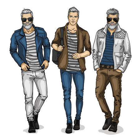 Vector man models dressed in jeans, sketch, city fashion