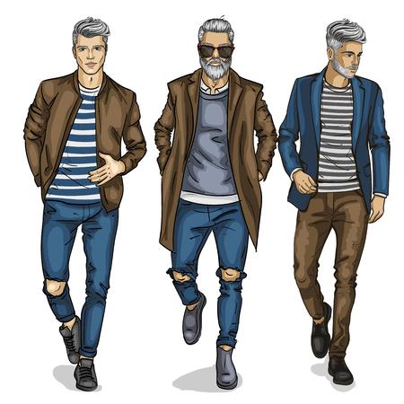 Vector man models mannequin designer fashion clothing Illustration