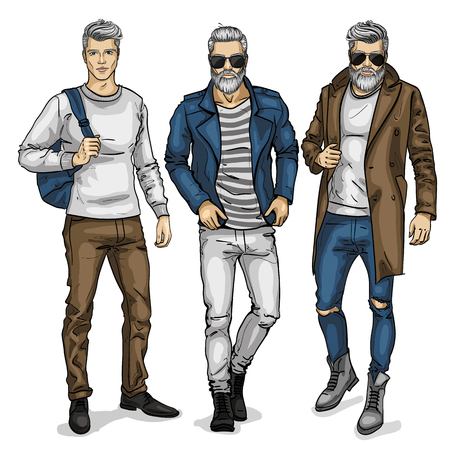 Vector man models, sketch, autumn collection. Vector illustration Illustration