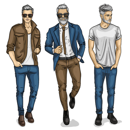 Vector man models mannequin designer fashion clothing Stock Illustratie