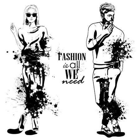 Vector woman and man fashion models, splash stile. Fashion is all we need