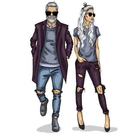 Vector woman and man fashion models, autumn collage look