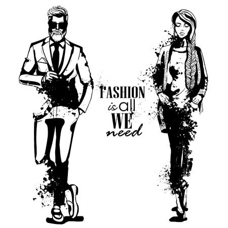 Modelli vettoriali donna e uomo vestiti in pantaloni classici, stile splash. La moda è tutto ciò di cui abbiamo bisogno Vettoriali