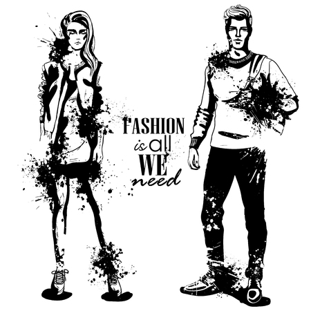 Vector woman and man models dressed in college style, splash stile. Fashion is all we need Çizim
