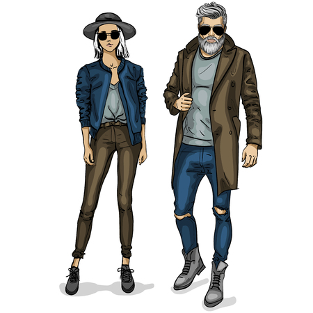 Vector woman and man fashion models, autumn look