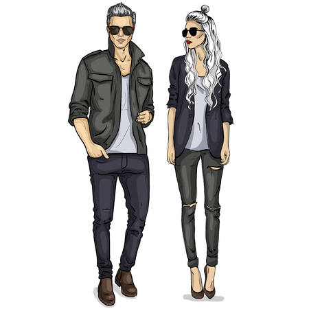 Vector woman and man models dressed in casual style with sunglasses, autumn look
