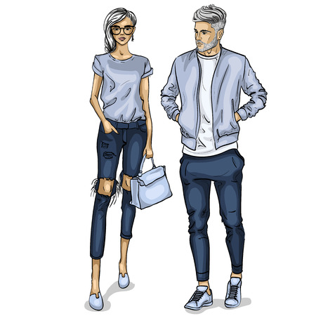 Vector woman and man fashion models, spring look