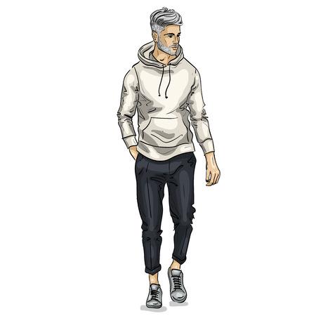 Vector man model illustration.