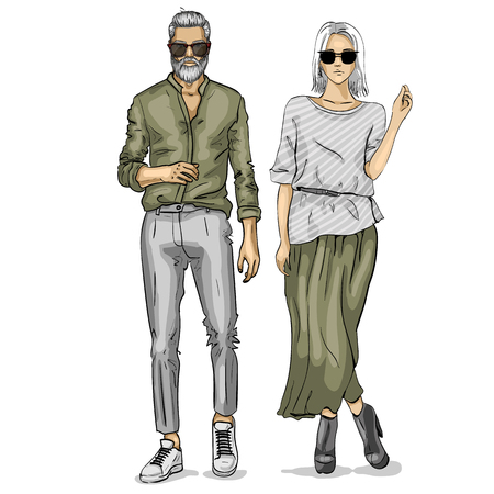Woman and man fashion models, business look.