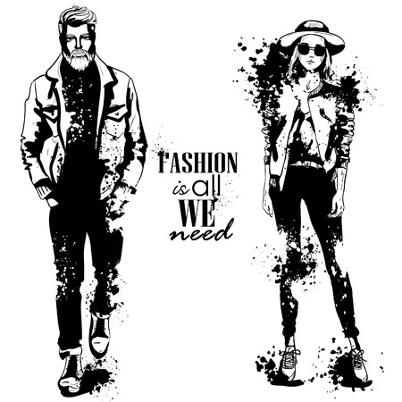A Vector woman and man fashion models on plain background. Illustration