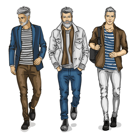 Modelos de hombre joven vector
