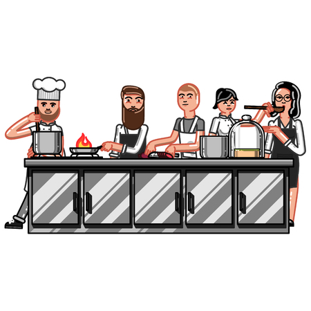 All chiefs crew working on kitchen. Vector illustration, EPS 10