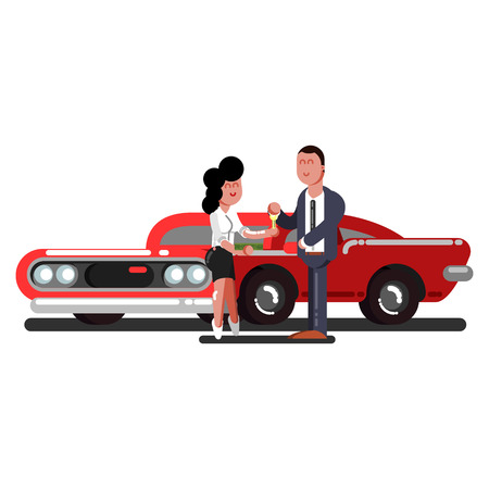 Girl buying a car  Vector illustration.