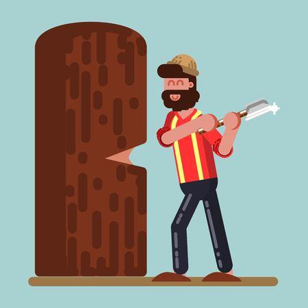 Lumberjack chopped down big tree Illustration