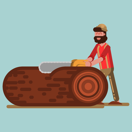 Lumberjack chopping the tree with chainsaw Illustration