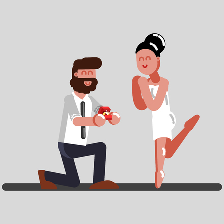Man makes an offer to a girl to get married. Vector illustration, EPS 10