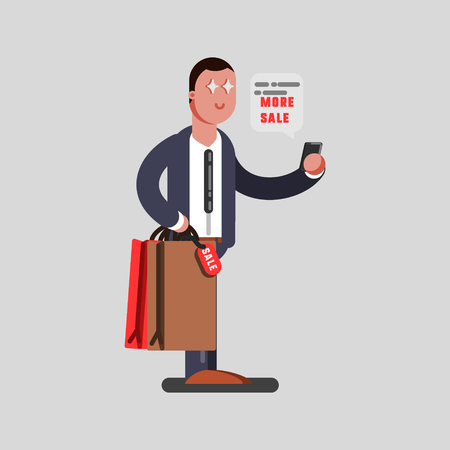 Man reading a discount massage with purchase in hands. Vector illustration, EPS 10