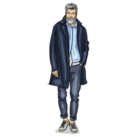 Vector man model dressed in pants, shirt, jeanse jacket, sneakers, and long coat